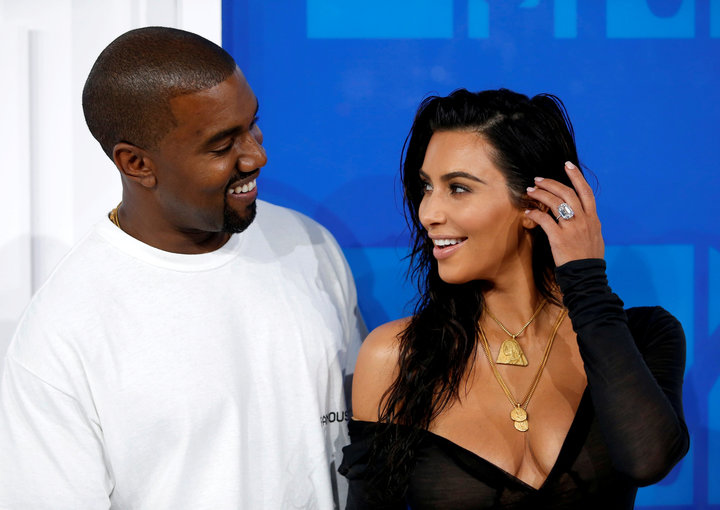 Kim Kardashian and Kanye West arrive at the 2016 MTV Video Music Awards in New York